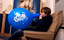 #228 Blow to pop a huge blue balloon with a Disney baby Mickey Mo...