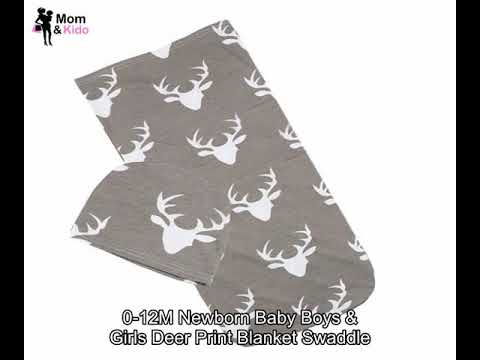 0-12M Newborn Baby Boys & Girls Deer Print Blanket Swaddle...