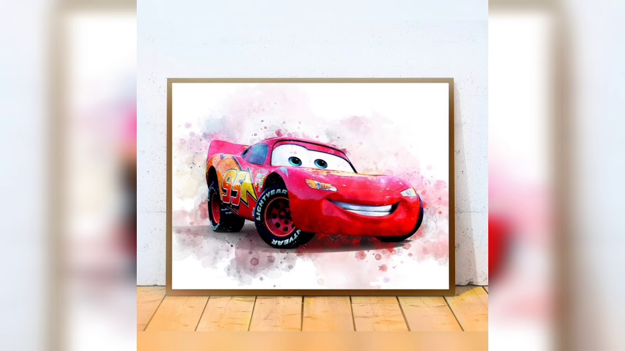 Disney Cars Movie Watercolor Wall Poster Prints, Lightning McQuee...