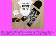 3Pcs Baby Boy Clothes Mommy's New Man Print Bodysuit Summe Co...